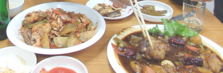 鴨緑江の魚料理
